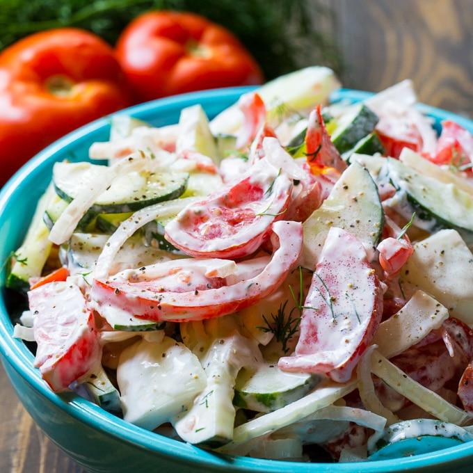 Creamy Tomato and Cucumber Salad Recipe
