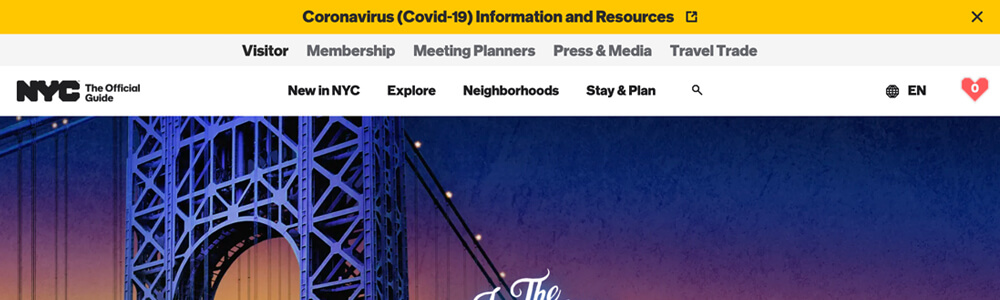 NYC Official Guide website notification bar