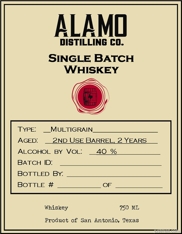 Alamo Distilling Single Batch Whiskey