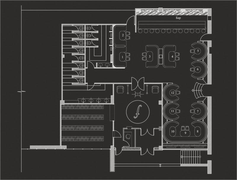 Схема зала, ночной клуб