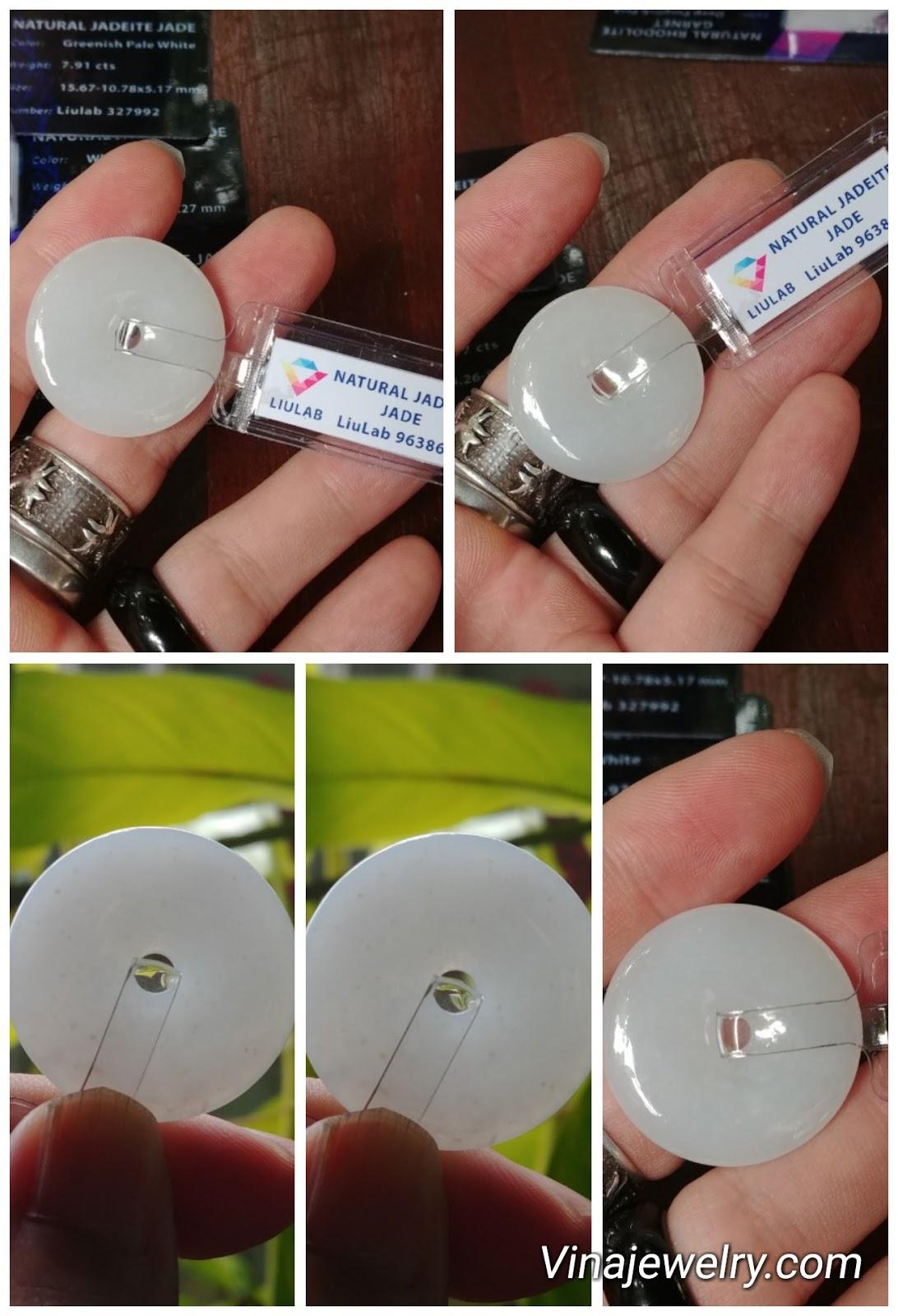 Đồng điếu Bạch Ngọc cẩm thạch Myanmar Natural Jade đã kiểm định Liulab, chuẩn A