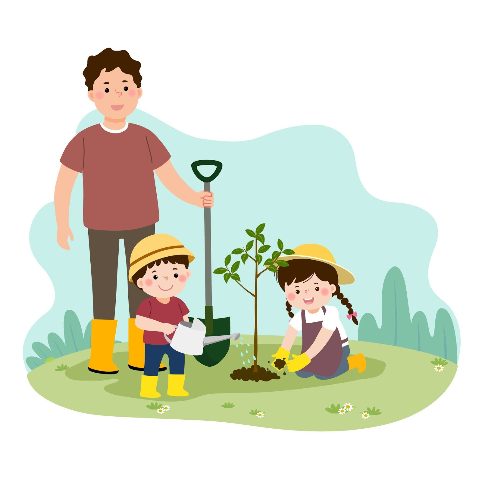 Happy Children Helping Their Father Planting Young Tree Free Download Vector CDR, AI, EPS and PNG Formats
