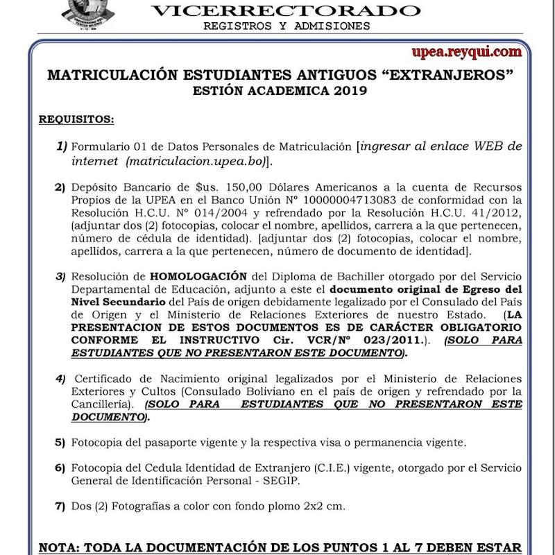 """Matriculación UPEA 2019: Requisitos Para Estudiantes Antiguos """"Extranjeros"""""""