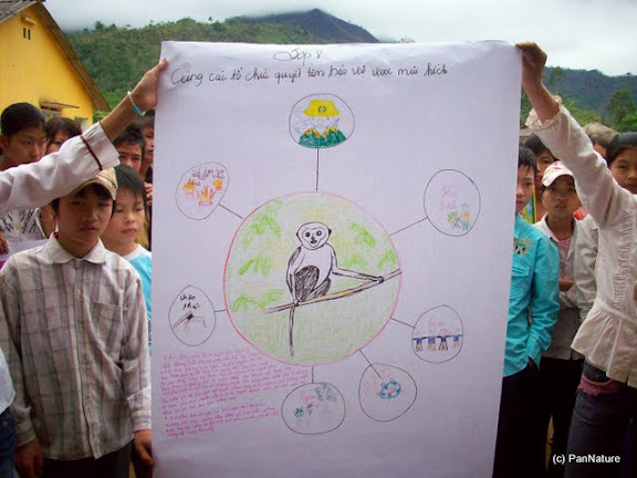 Poster of students of 8th grade on protecting the Tonkin Snub-nosed Monkey.