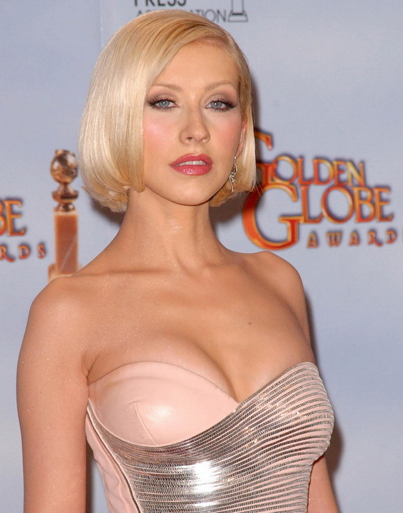 Christina Aguilera's Golden Globes:gossip,big girl,fun girls,big breasts,cleavage0