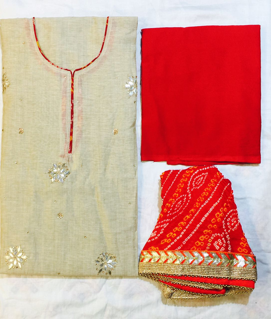 Chanderi hand work dress material rs 2800 koyal for Waste material hand work