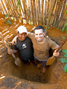Me and Toky dug the whole toilet pit, about 5 feet deep, during one day.  It was tough work in all the thick clay, but we managed!