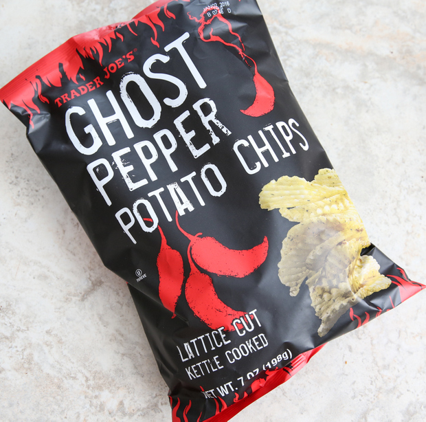 overhead photo of a bag of Ghost Pepper Potato Chips