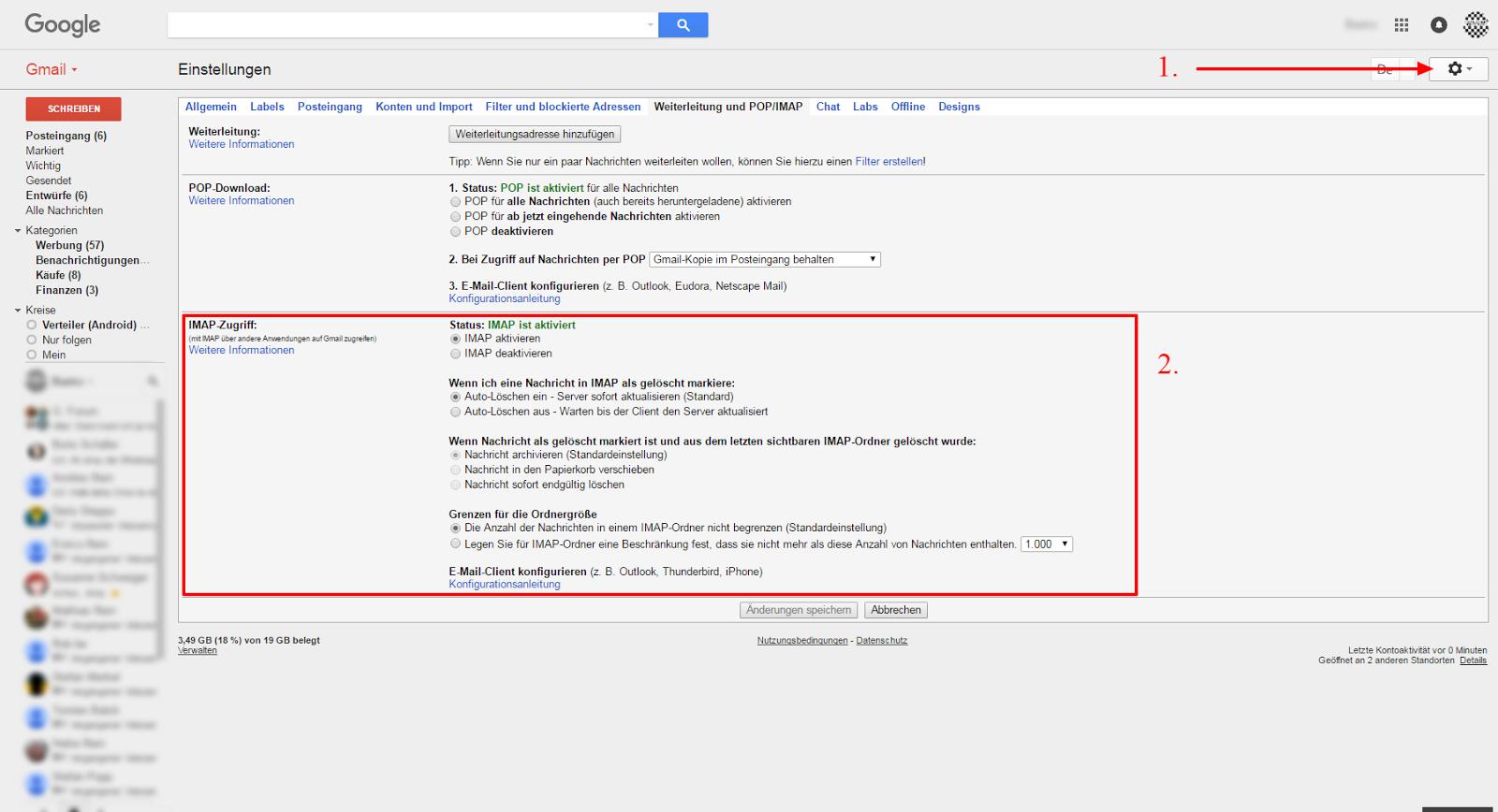 gmail email löschen