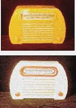 Photo: COLOURS AND EARLY PLASTICS  As stated in connection with Bakelite, that plastic (in its true sense) simply could not be made in White - anything that has a true white colour therefore cannot be Bakelite.  The image above (from Catalin Corner, a vintage radio collectors group) is of two Fada 252 radios made of Catalin - except it isn't! It is the same radio - the top version is as it was found and the bottom after restoration. UV light is said to convert the phenol into phenolic acid, which is browny in colour, giving rise to the 'butterscotch yellow' colour. It is only surface deep, and can be removed by careful sanding and polishing. The original white radio was sold as 'Alabaster White' in colour. This effect can be seen in connection with my Lowe set in a later image where I scraped the surface in a non-exposed area. So - any such old 'yellow' plastic may well be Catalin: try a scrape test.   As stated with Galalith/Erinoid, that plastic was made in white - and retained it's colour!