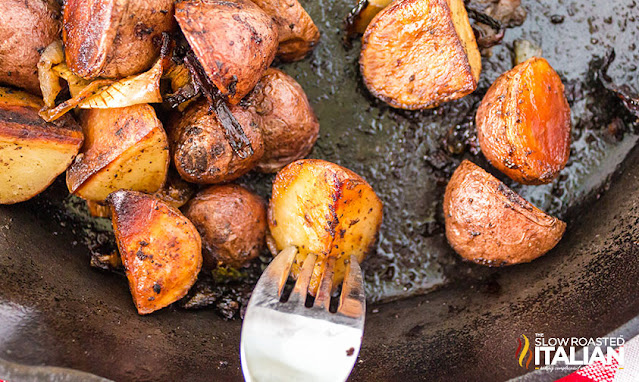 Smoked Red Potatoes finished in a cast iron skillet