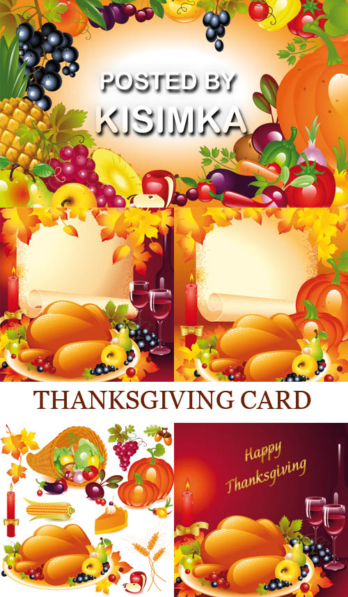 Stock: THANKSGIVING CARD. BACKGROUND WITH TURKEY