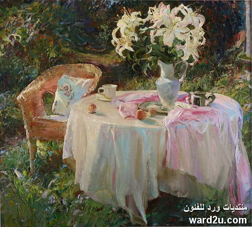 عبير الورد فى لوحات الفنانة Maria Sherbinina
