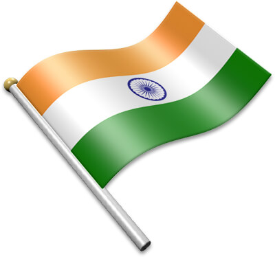 The Indian flag on a flagpole clipart image