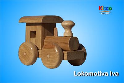 Lokomotiva Iva (bez boje), drvena igračka za decu