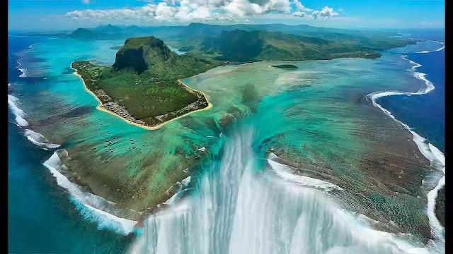 waterfall underwater