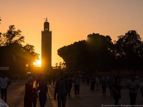 Sunset over Mosque Marrakech