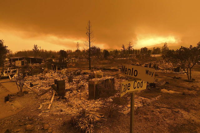 Homes leveled by the Fire line the Lake Keswick Estates area on 27 July 2018. Photo: Noah Berger / AP Photo