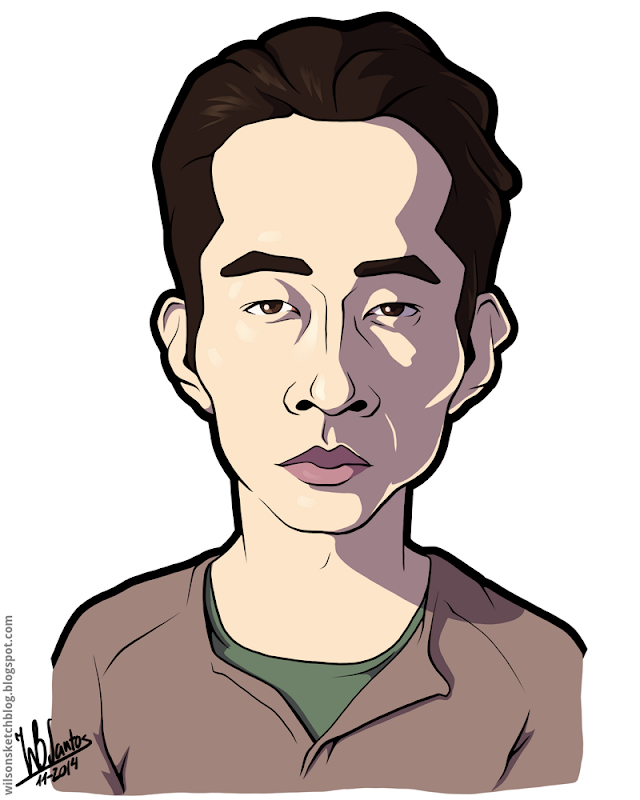 Cartoon caricature of Steven Yeun as Glenn Rhee from The Walking Dead.