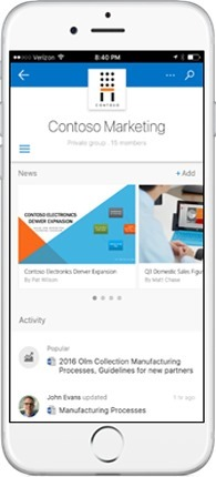 New SharePoint team site - mobile