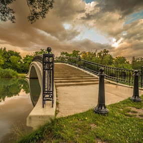 Sunset in the park by Donna Sparks - Buildings & Architecture Bridges & Suspended Structures ( color, sunset, bridge,  )