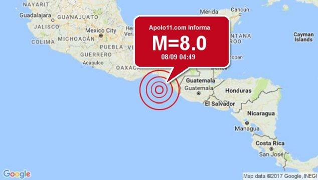 Forte terremoto atinge México 8.0