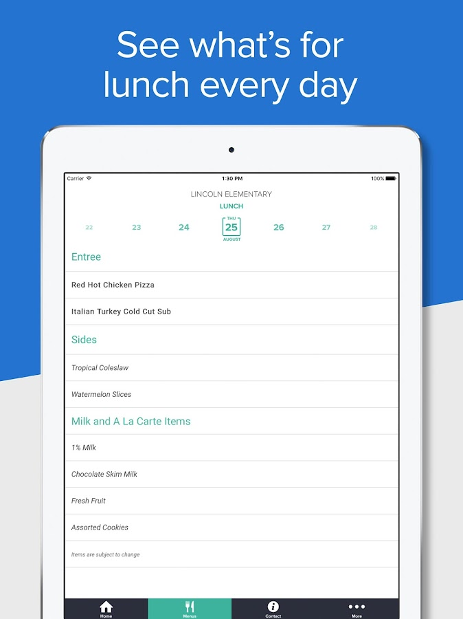 School Lunch by Nutrislice- screenshot
