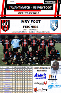PROGRAMME MATCH IVRY FOOT - FEIGNIES 05/03/2016