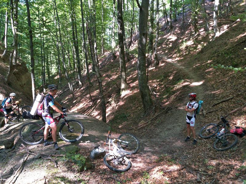 Pe single trail-uri spre Baile Olanesti, strangand suprinzator de multa diferenta de nivel pe drum.