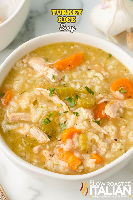 Turkey Rice Soup in a bowl