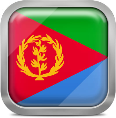 Eritrea square flag with metallic frame