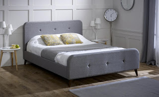 Perfect LB material bed frame in ash grey u ecru fabric