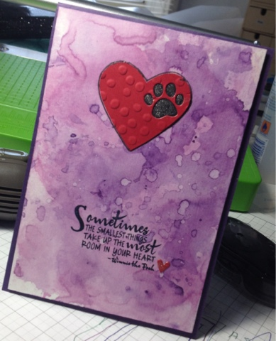 pet sympathy card cards distress ink stampin' up! stampin up paper smooches acetate packiaging technique verve wink stella paw