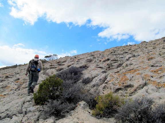 Steep approach to Steinaker Site #2