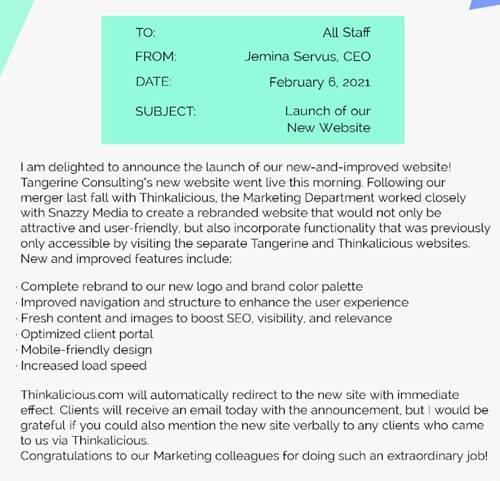Contoh Memo Dalam bahasa Inggris tentang Perusahaan Website