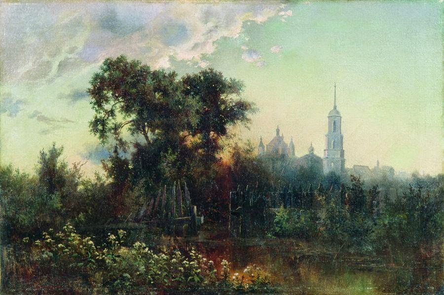 Lev Kamenev - Landscape with a bell tower. 1860