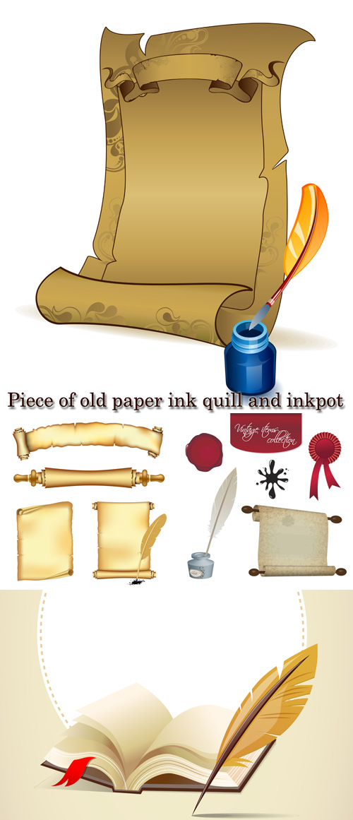 Stock: Piece of old paper, ink, quill and inkpot