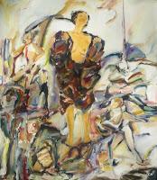 'Den Mantel der Erfahrungen aufreißen', Öl auf Leinwand, 70x80, 1996