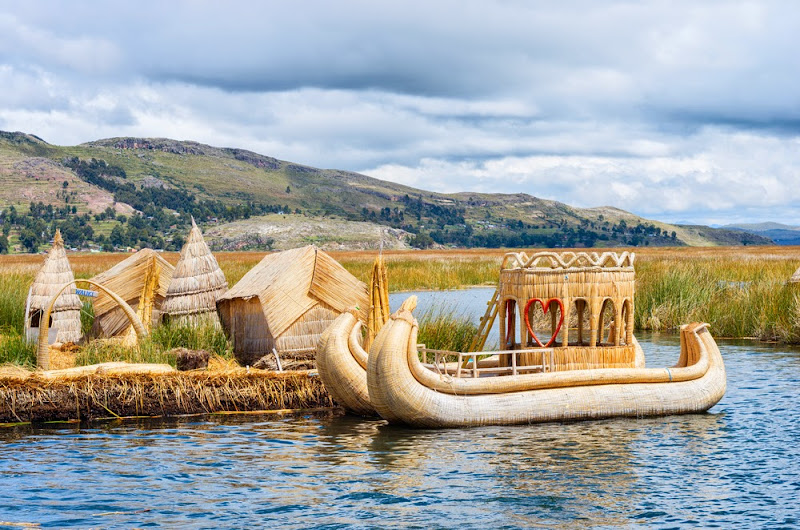 Traditional village on floating island, Titicaca lake