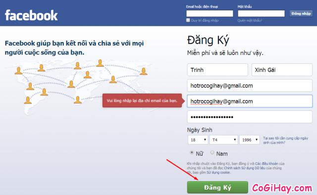 nhap thong tin dang ky tai khoan facebook