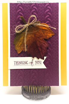 Linda Vich Creates: Stamp Class #2 Projects. Rich Razzleberry Cable Knit background is paired with a colorful autumn leaf in this thinking of you card.