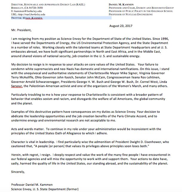 Resignation letter of Daniel M Kammen, science envoy for the Department of State, addressed to Trump, dated 23 August 2017. The accompanying tweet reads, 'Your response to Charlottesville enables racism, sexism, & harms our country and planet.' Graphic: Daniel M Kammen / Twitter