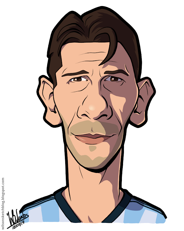 Cartoon caricature of Martín Demichelis.