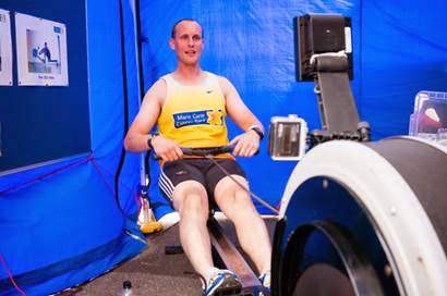 Crew Member Rob Inett rowing on his 26-mile rowing section as part of his non-stop Ironman-distance triathlon to raise money for Marie Curie Cancer Care in memory of fellow Crew Member Paul Singleton 10 August 2014 Photo: Rob Inett Archive