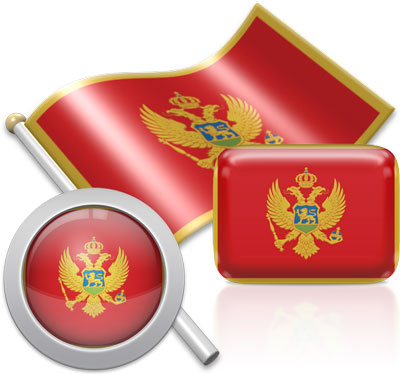 Montenegrin flag icons pictures collection