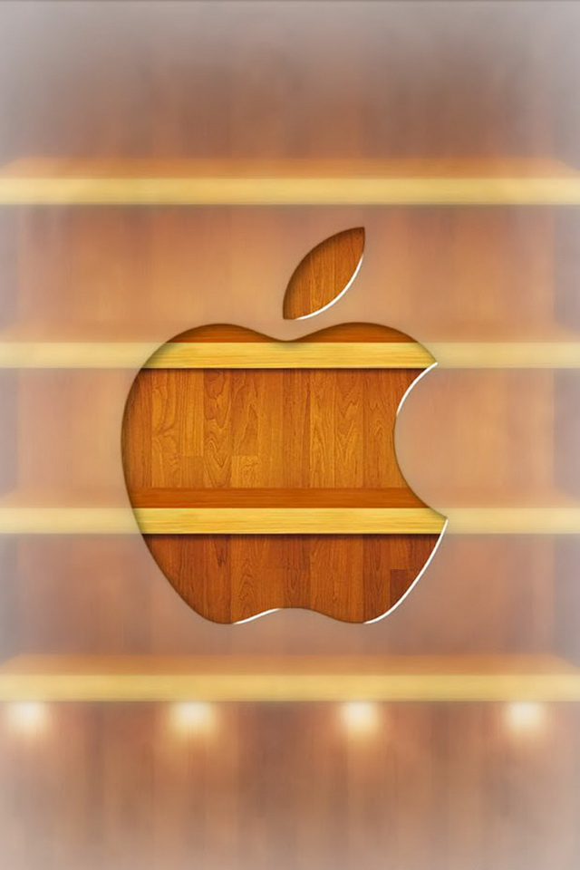 Apple Logo on Wood Bookshelf 3D Picture Wallpapers For iPhone 4