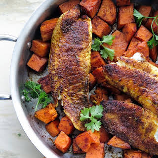 Blackened Tilapia w/ Roasted Sweet Potatoes.