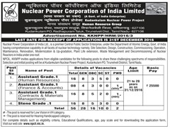 NPCIL KKNP Recruitment 2016-17 www.indgovtjobs.in