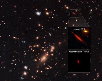 lente gravitacional gerada por um aglomerado de galáxias