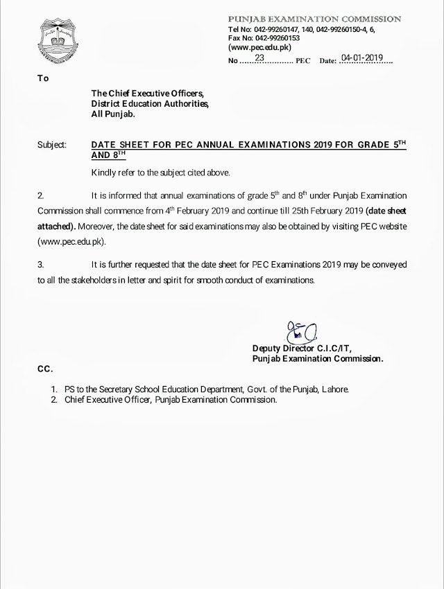 DATE SHEET FOR PUNJAB EXAMINATION COMMISSION ANNUAL EXAMINATIONS 2019 FOR GRADE 5 & 8